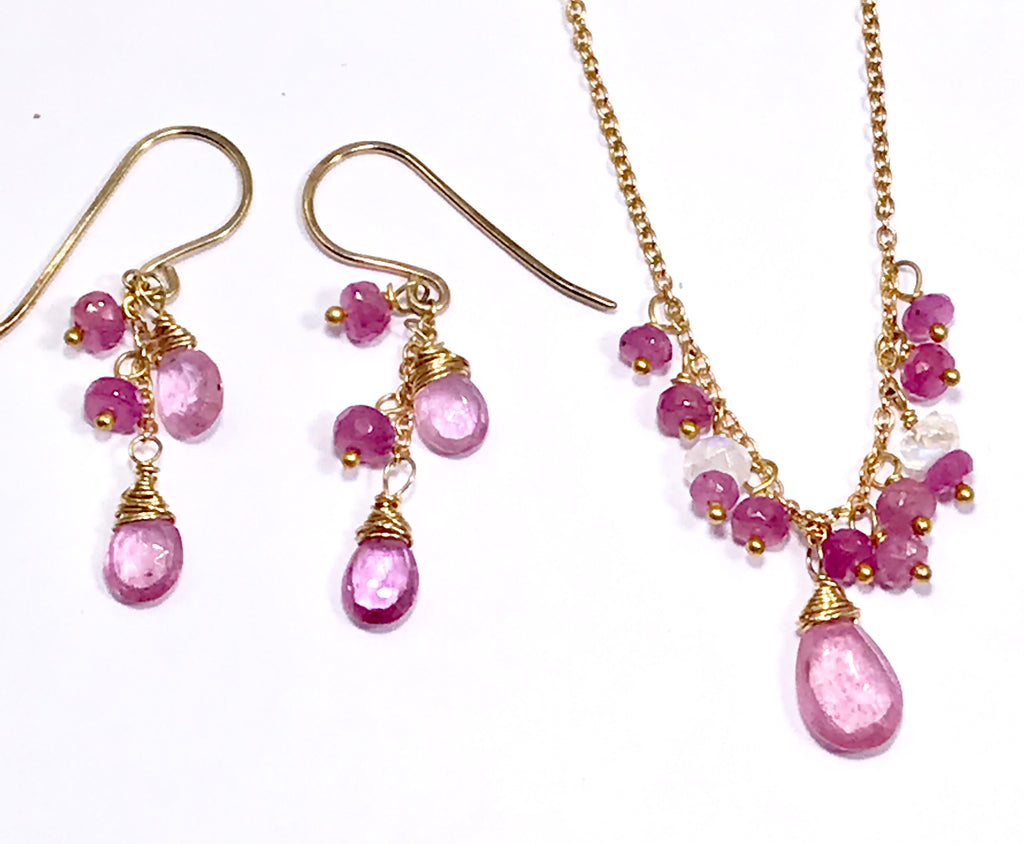 Pink Sapphire and Pink Gemstone Necklace Earrings - doolittlejewelry