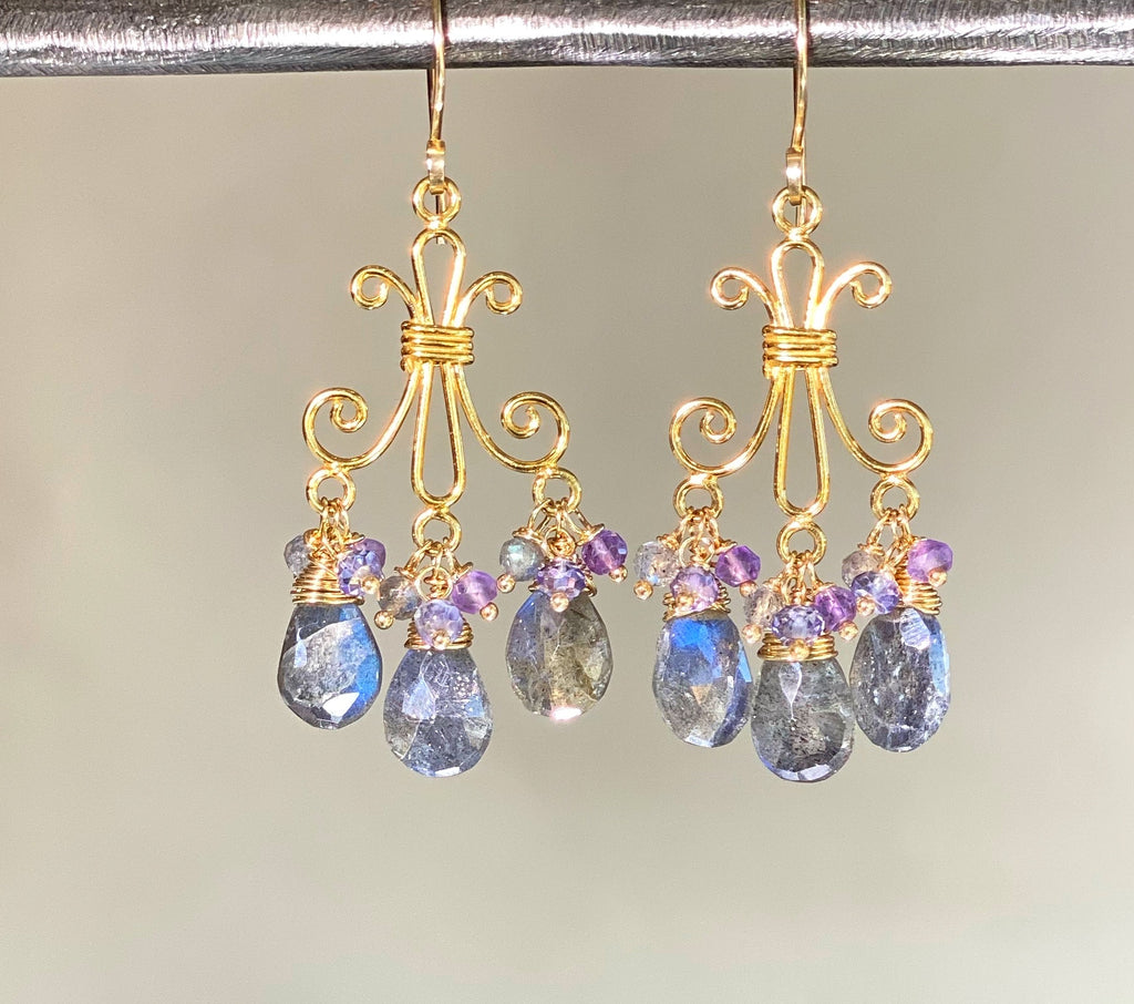 Labradorite Gold Chandelier Earrings