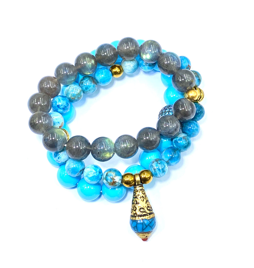 Apatite Gemstone Beaded Stretch Stacking Bracelet with Turquoise Blue Tibetan Bead - doolittlejewelry
