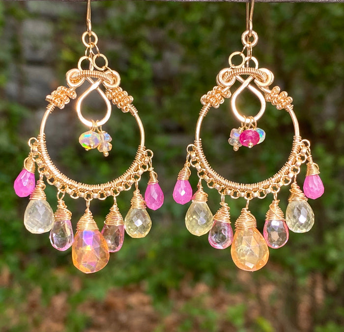 Gemstone Hoop Chandelier Earrings Gold Pastel Pink Topaz & Sapphire