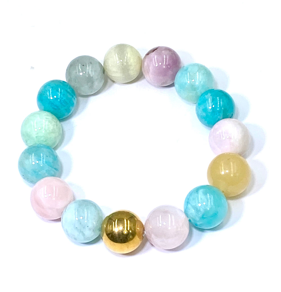 Multi-color Aquamarine Stack Stretch Bracelet with Gold Quartz Ball - doolittlejewelry