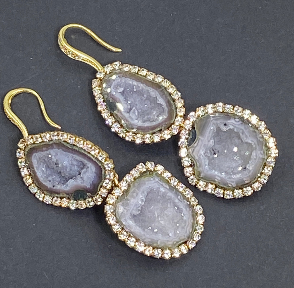 Silvery Grey Tabasco Geode Double Dangle Druzy Earrings - doolittlejewelry