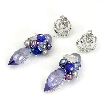 Ice Blue, Silver and Pearl Wedding Earrings Blue Violet - doolittlejewelry