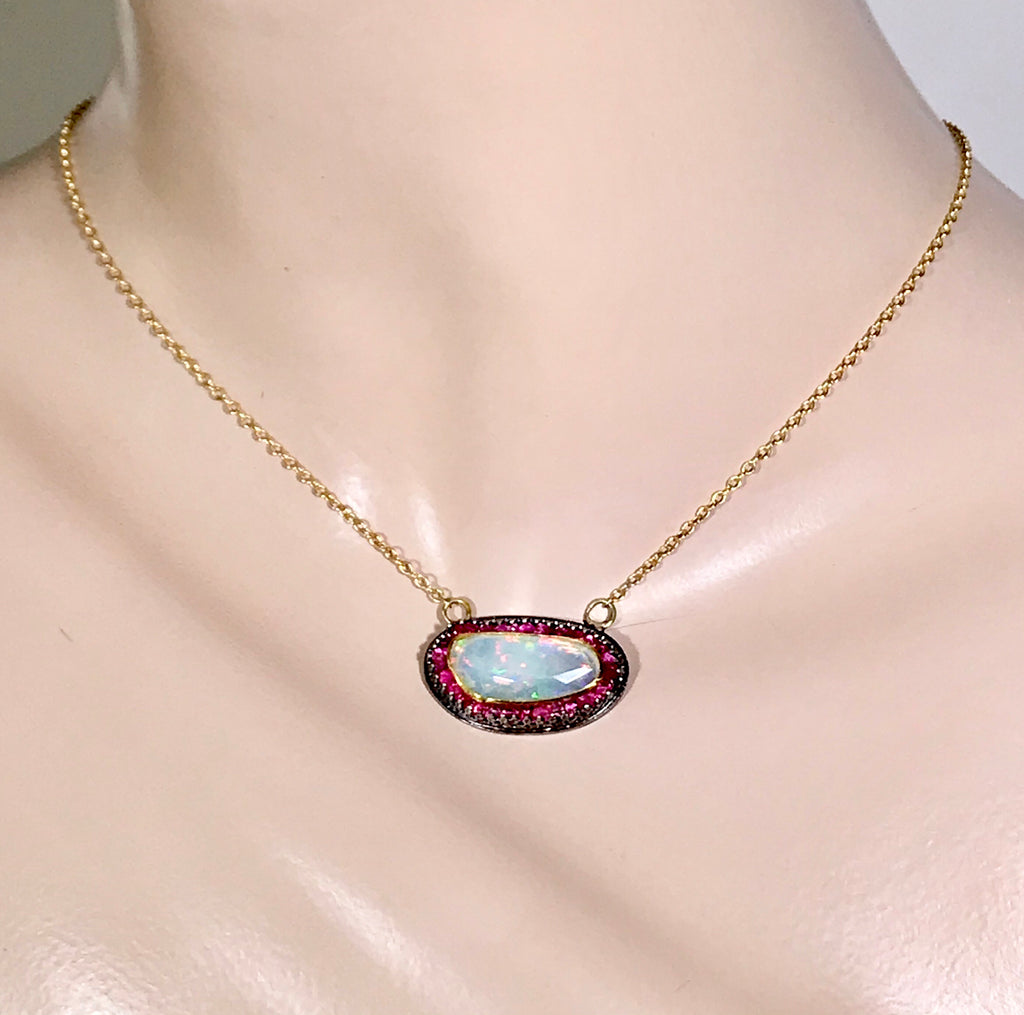 Opal and Pink Spinel Pendant with 22 kt Gold and Oxidized Sterling Silver - doolittlejewelry