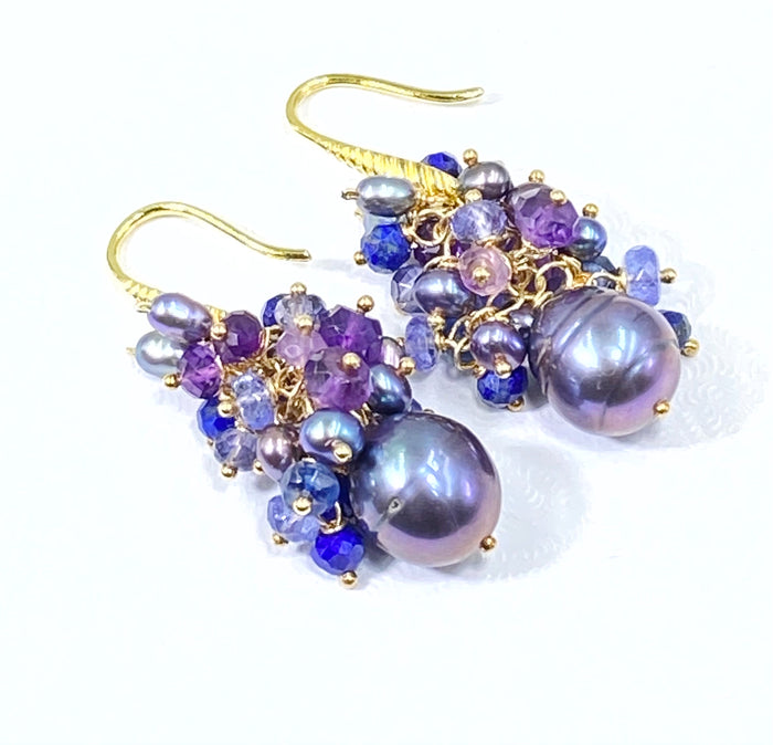 Black Baroque Pearl Gemstone Cluster Earrings Amethyst Tanzanite Iolite