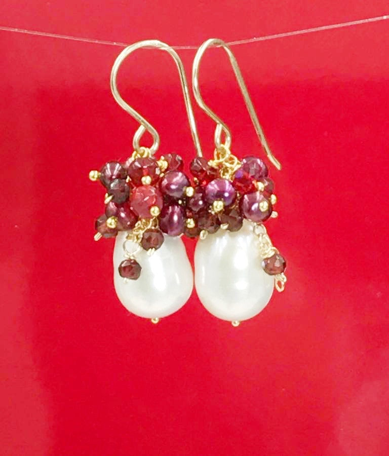 Red, White, Ruby, Ivory and Pearl Earring - doolittlejewelry