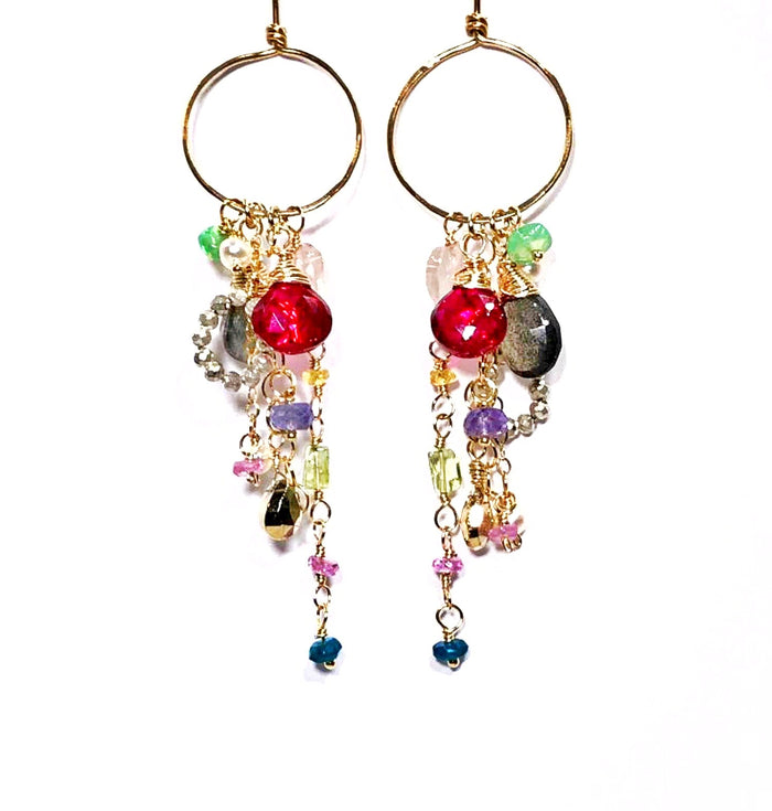 Multi-color Gemstone Dangle Earrings Gold Chain Red Topaz