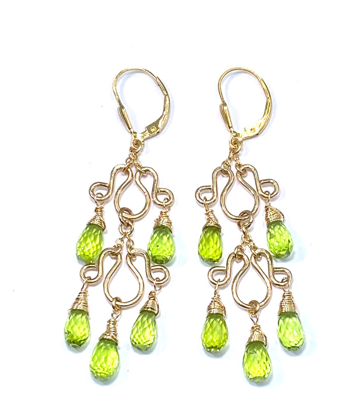 Peridot Gemstone Chandelier Earrings Gold Fill - doolittlejewelry