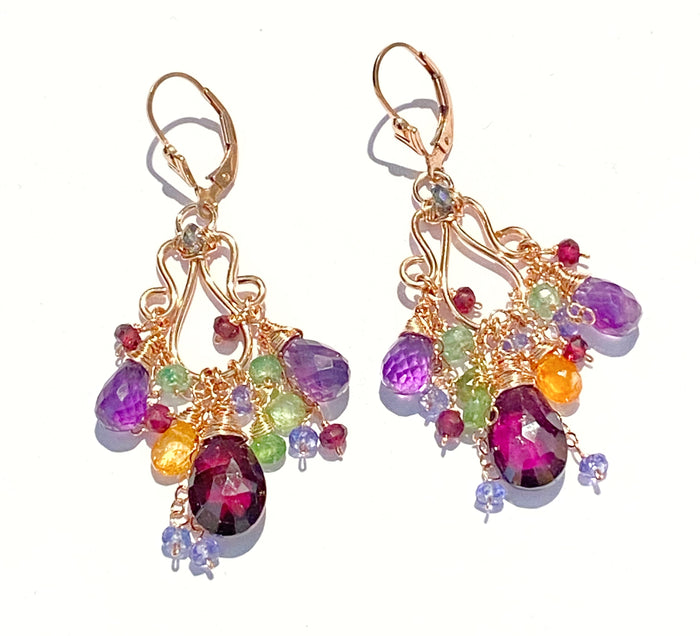 Rose Gold Chandelier Earrings Rhodolite Garnet Amethyst Lever Back