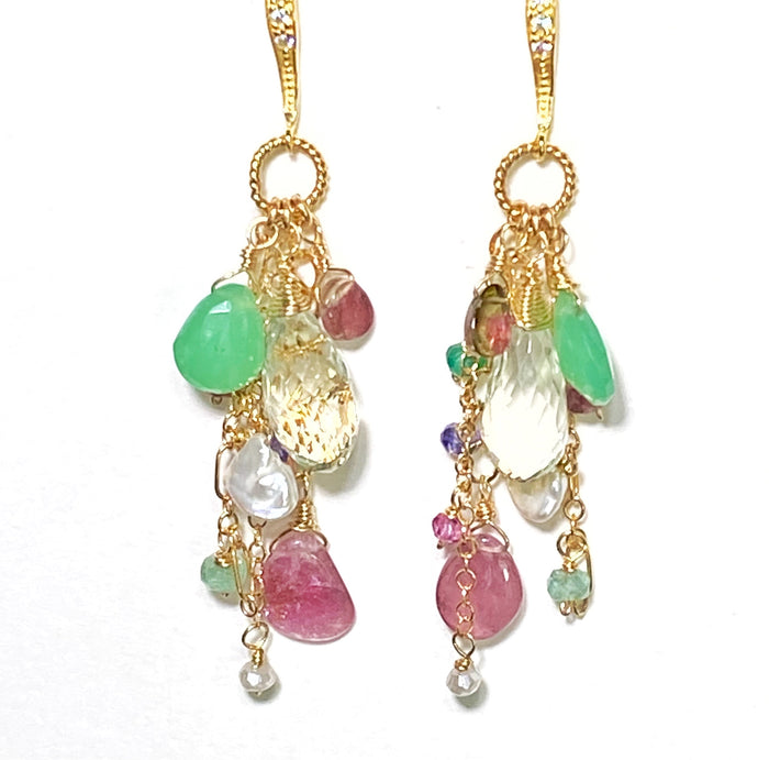 Green Amethyst Watermelon Tourmaline Slice Dangle Earrings