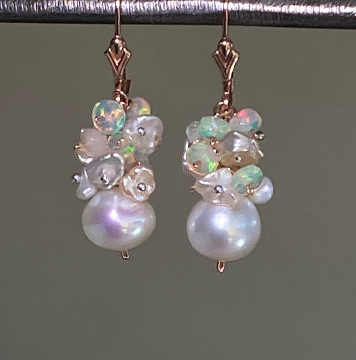 RESERVED - CUSTOM ORDER for MJ - White Pearls, Opal Clusters, Rose Gold