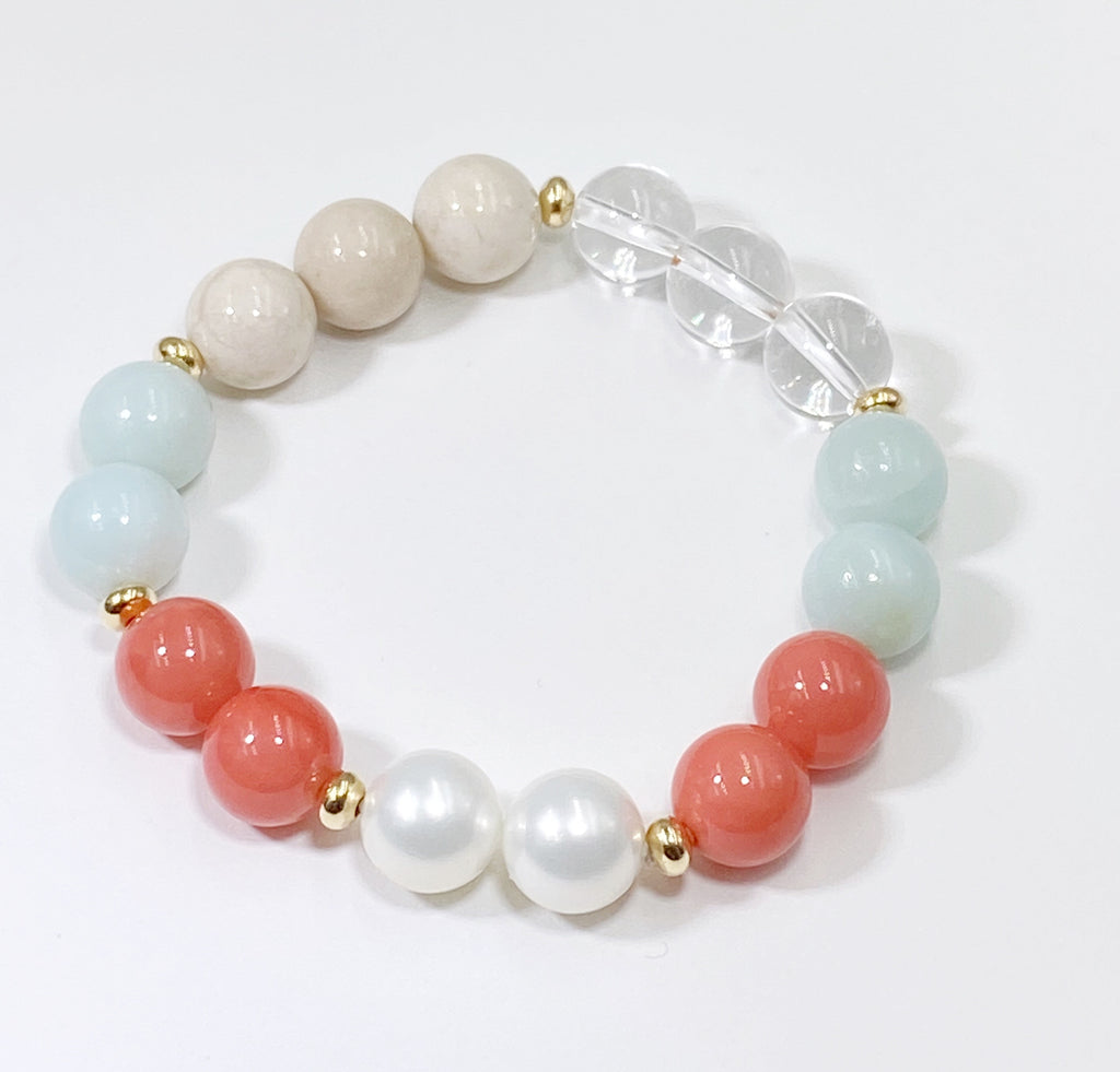 Coral Amazonite Stack Stretch Bracelet Set Gold Fill Accents