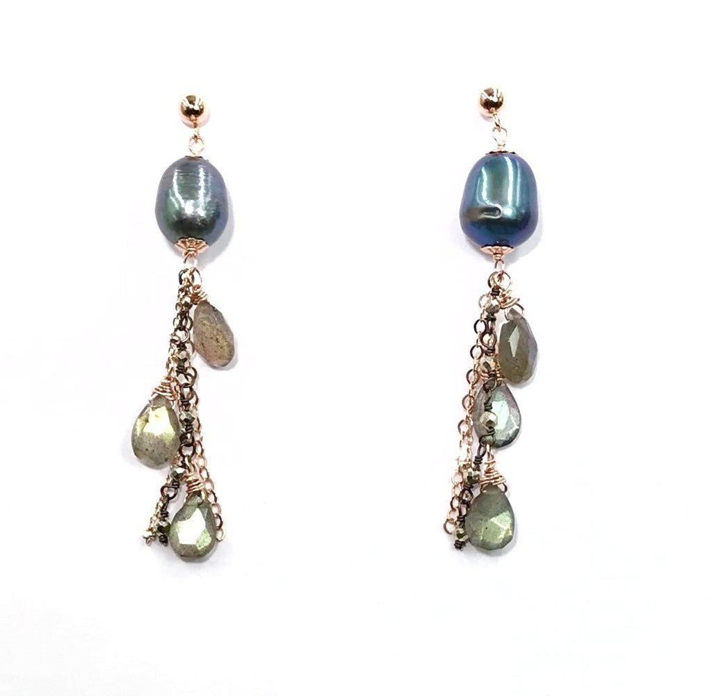 Rose Gold Labradorite and Pearl Dangle Earrings