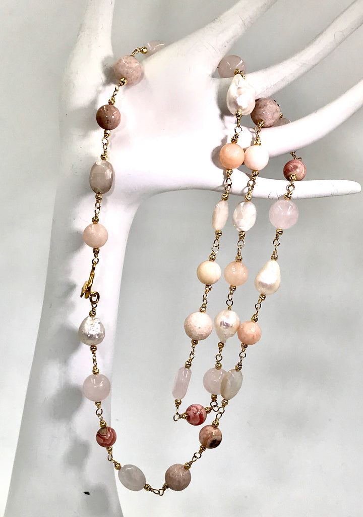 Long Multi Gemstone Blush Stone Pearl Wire Wrap Necklace 14kt Gold Fill - doolittlejewelry