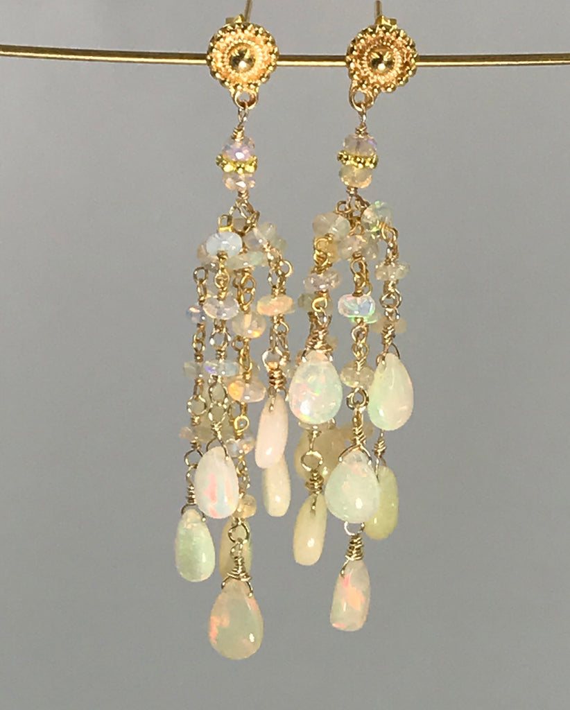 Ethiopian Opal Tassel Earrings - doolittlejewelry