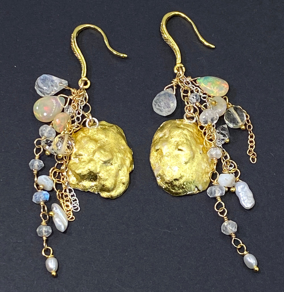 White Tabasco Geode 24 kt Gold Leaf Bridal Earrings with Long Dangling Chains - doolittlejewelry