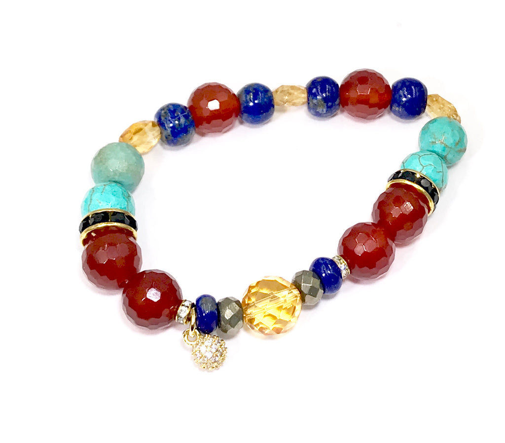 Stretch Stacking Bracelet Set of 3 Turquoise Blue Lapis Carnelian Citrine - doolittlejewelry