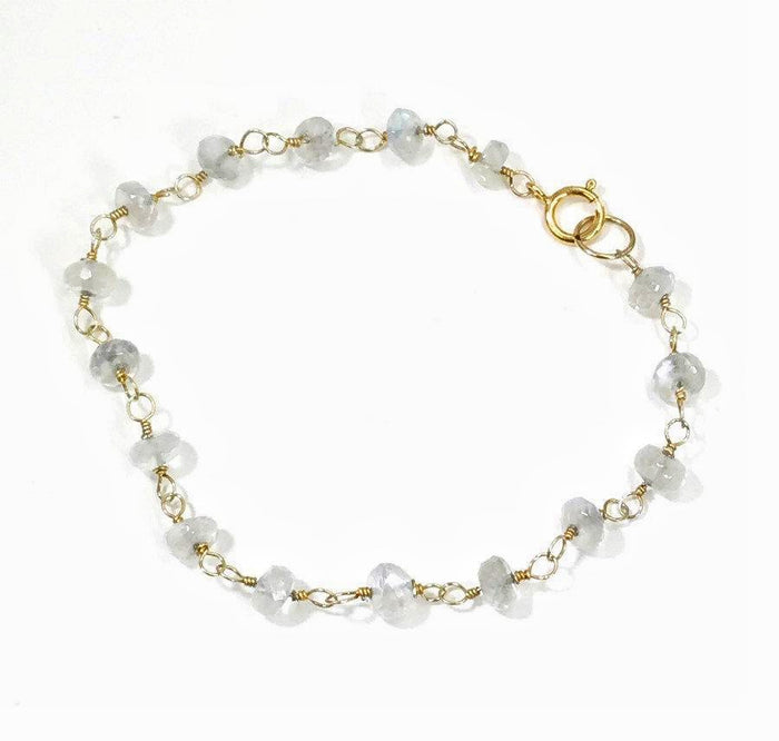Ceylon Moonstone Wire Wrapped Gold Bracelet