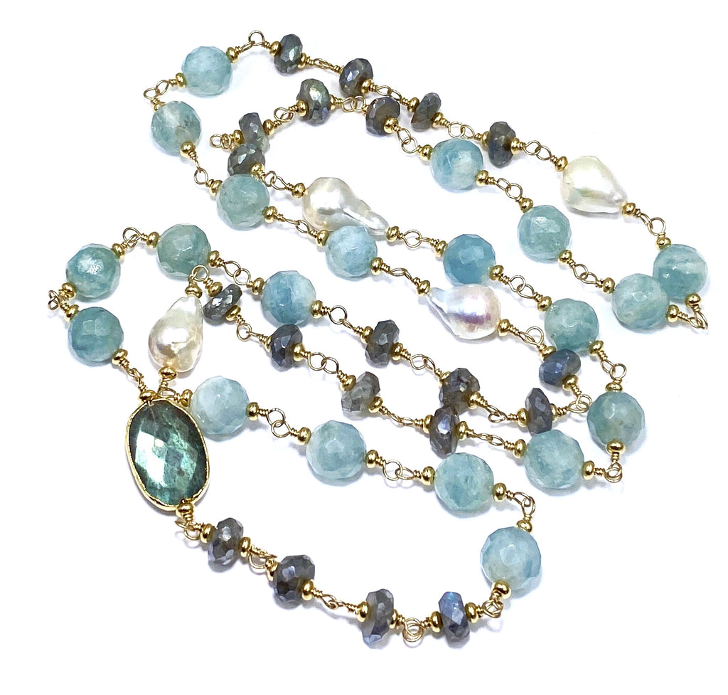 Beaded Gemstone Long Wire Wrapped Necklace Labradorite, Aquamarine, Pearl