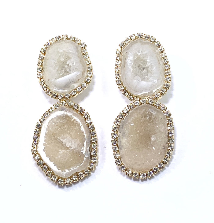 Ivory Tabasco Geode Bridal Earrings Double Dangle Post Diamond Style