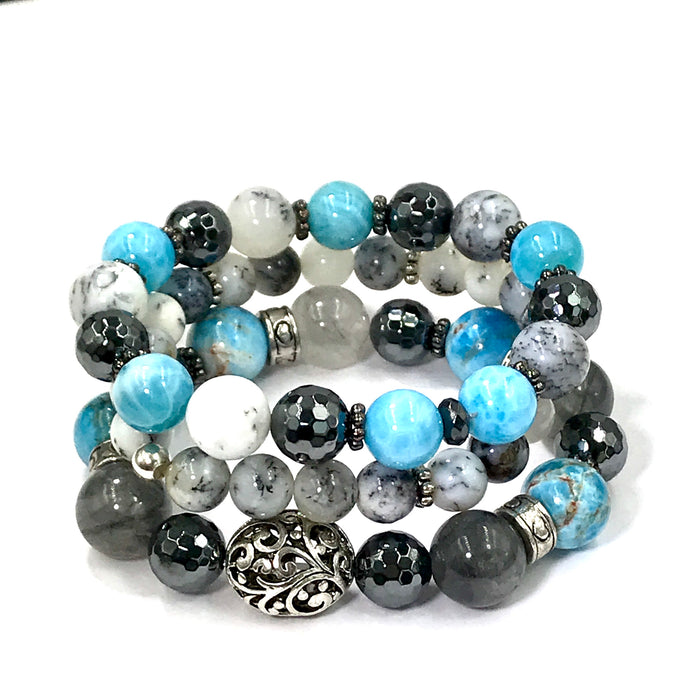 Dendritic Opal Blue Grey Silver Boho Stretch Bracelet Stacking Set of 3 - doolittlejewelry