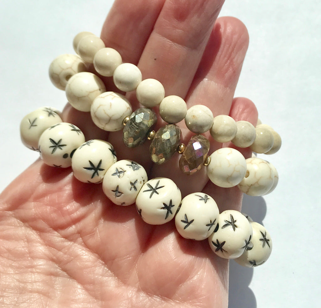 Ivory Stretch Bracelet Stack Set of 3 Carved Bone, Howlite - doolittlejewelry