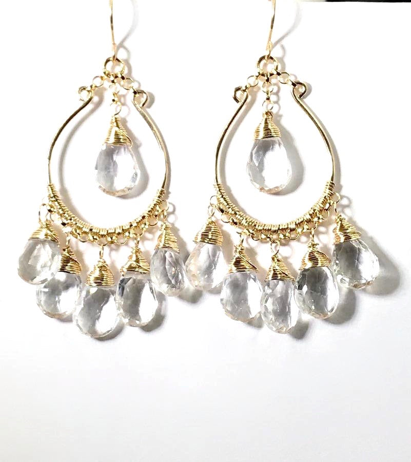 Clear Crystal Quartz Gold Hoop Earrings Gemstone Gold Chandelier Earrings - doolittlejewelry