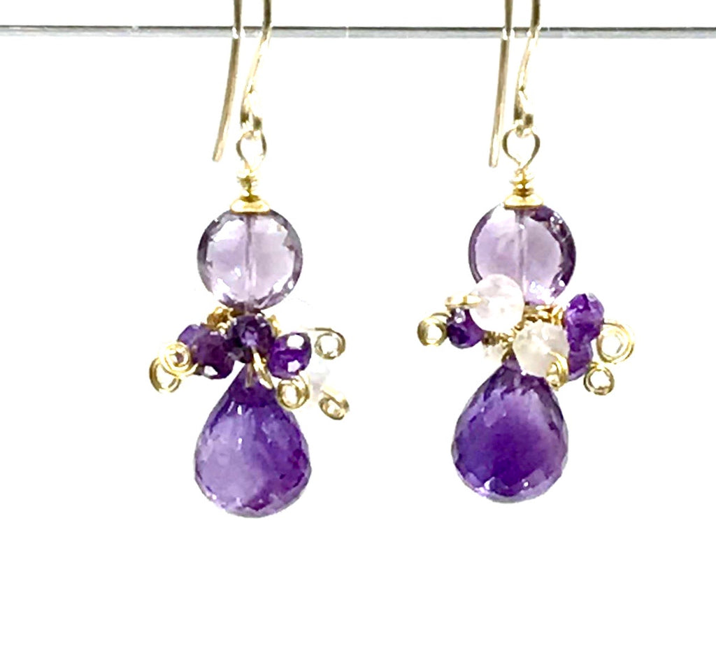 Amethyst and Gemstone Dangle Cluster Earrings - doolittlejewelry