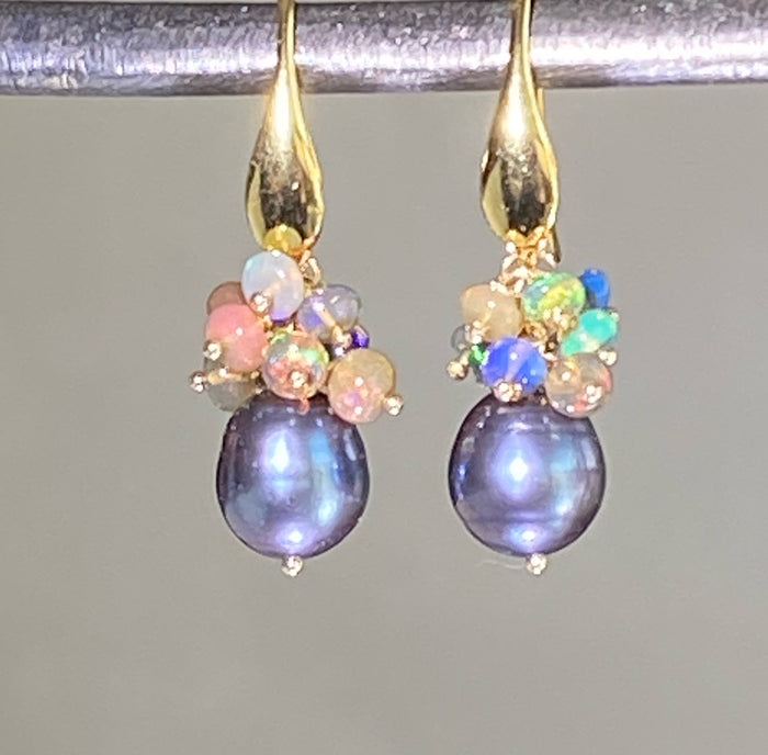 Black Grey Baroque Pearl Opal Cluster Gold Earrings