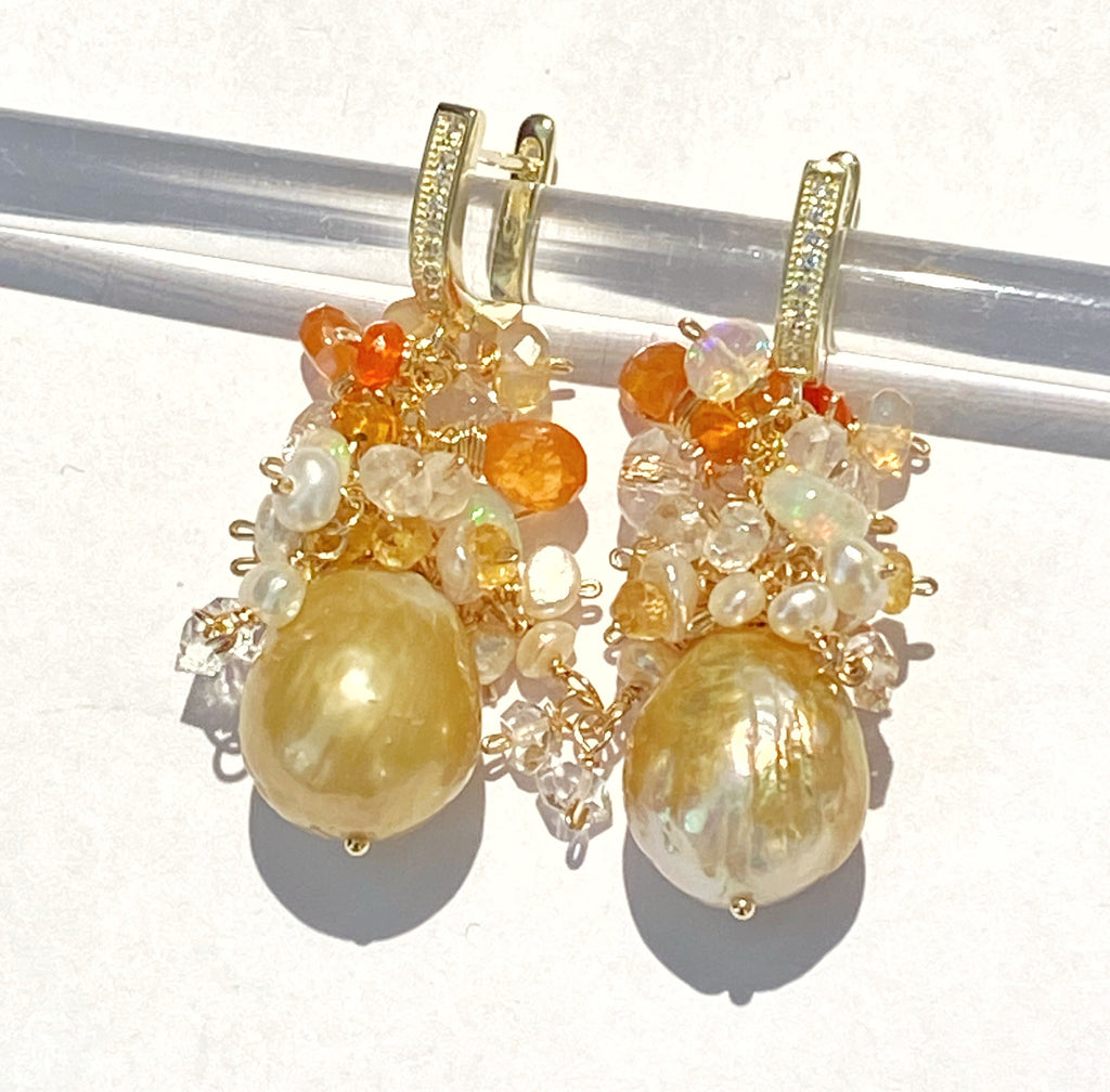 Pond-slime Baroque Pearl and Gemstone Cluster Earring