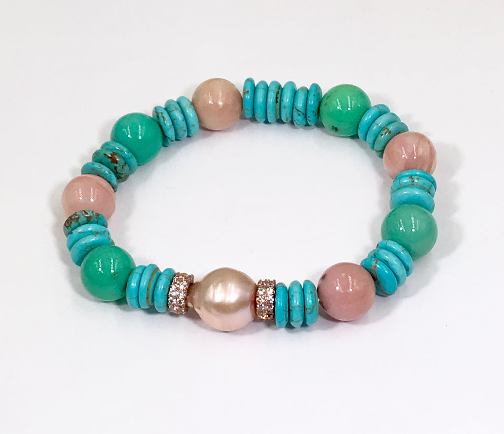 Turquoise Rose Quartz Aquamarine Stretch Bracelet Set of 3 Rose Gold - doolittlejewelry