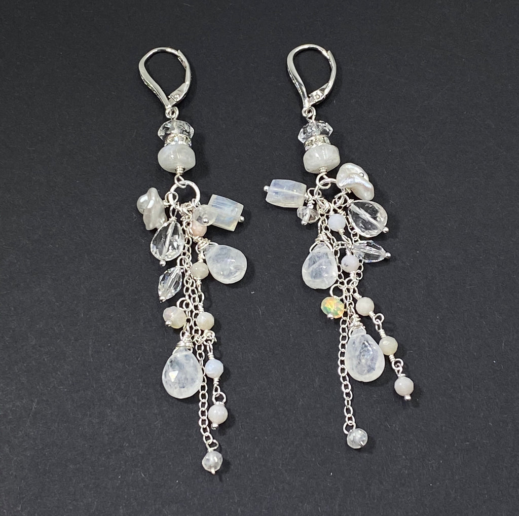 Rainbow Moonstone Long Boho Bridal Earrings Crystal Quartz Sterling Silver