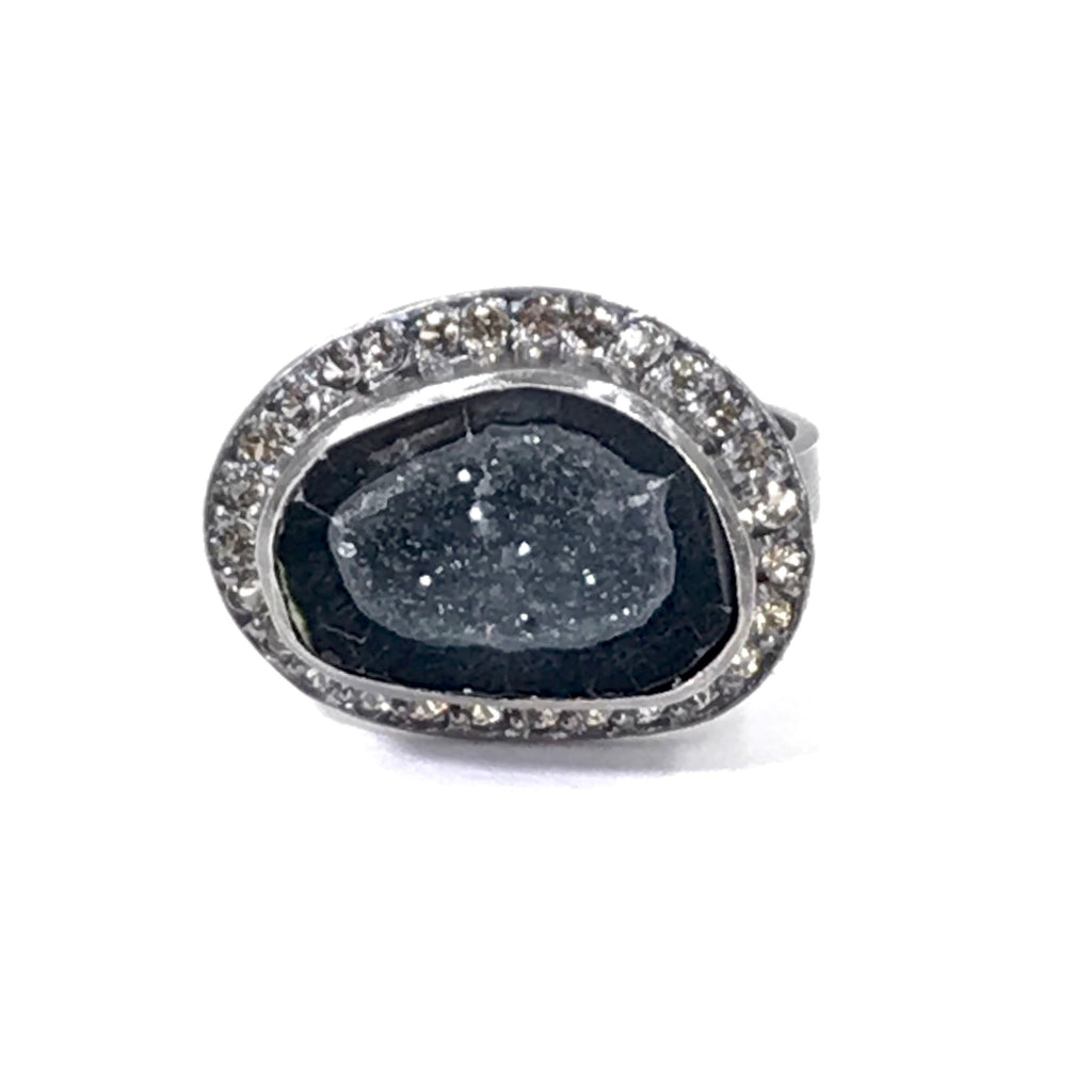 Black Geode and Pave Sapphire Ring in Oxidized Sterling Silver - doolittlejewelry