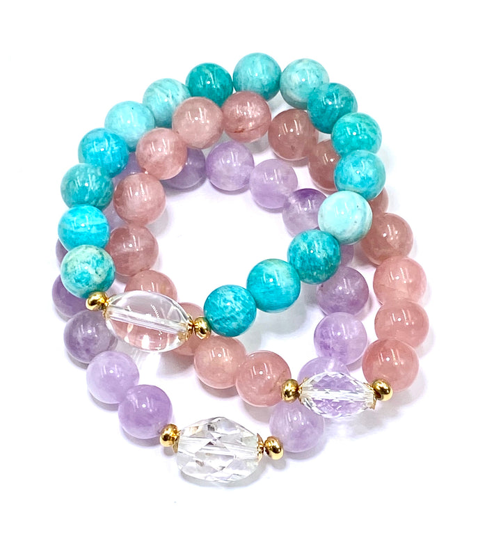 Pastel Gemstone Stretch Stacking Bracelet Set of 3 with Crystal Quartz