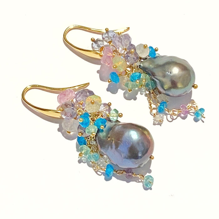 Black Baroque Pearl Cluster Earrings Gold