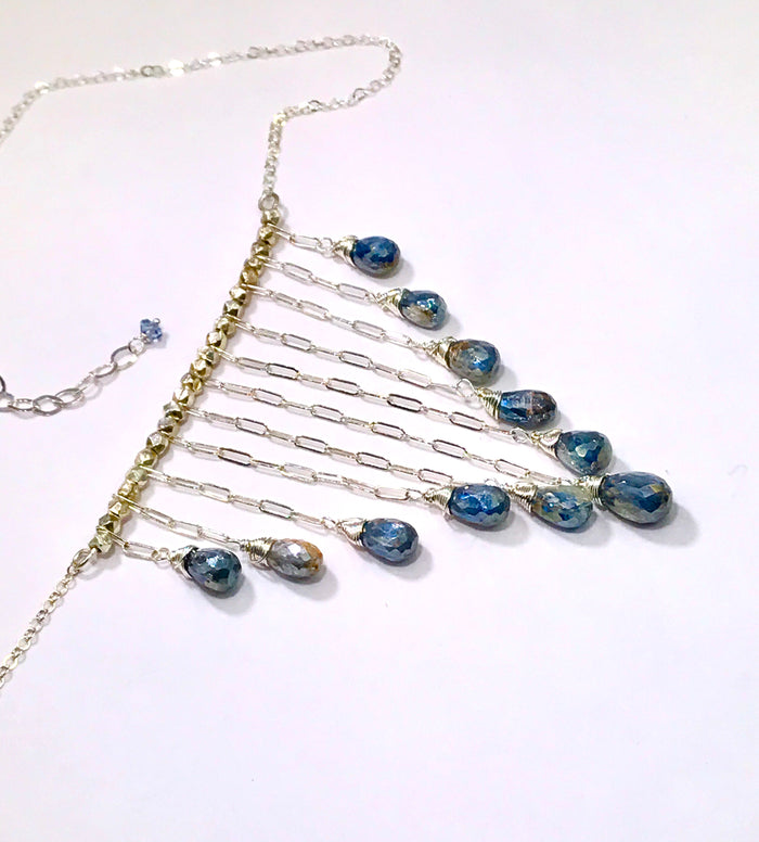 Boho Dangle Necklace Gemstone Blue Kyanite Silver Mystic Sterling Silver Chain - doolittlejewelry