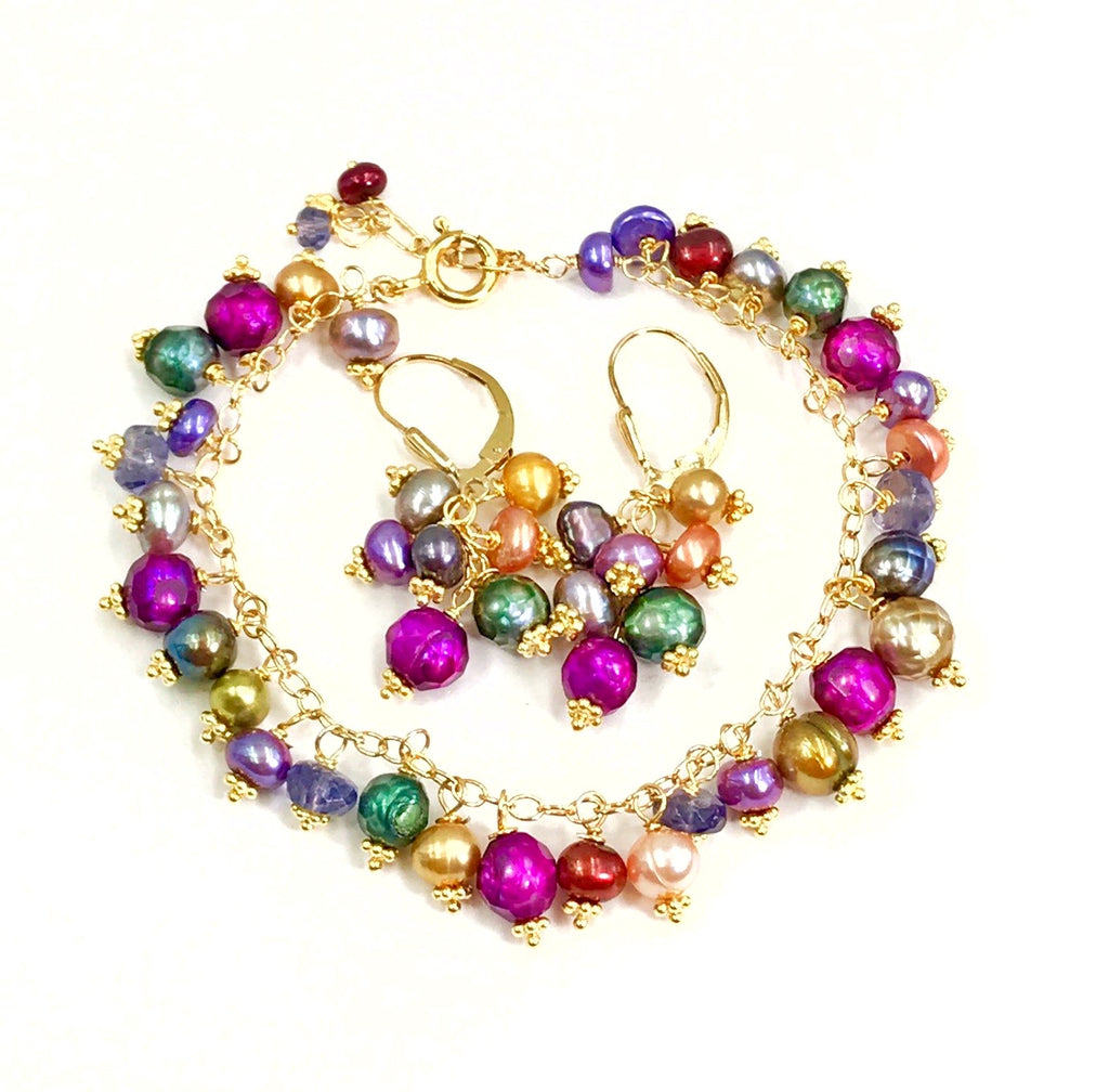 Multi-color Pearl Dangle Earrings Gold
