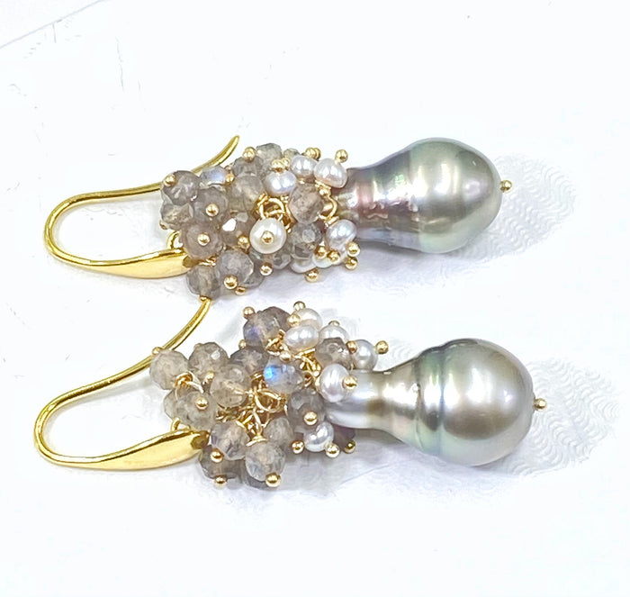 Tahitian Pearl Labradorite Cluster Earrings Gold
