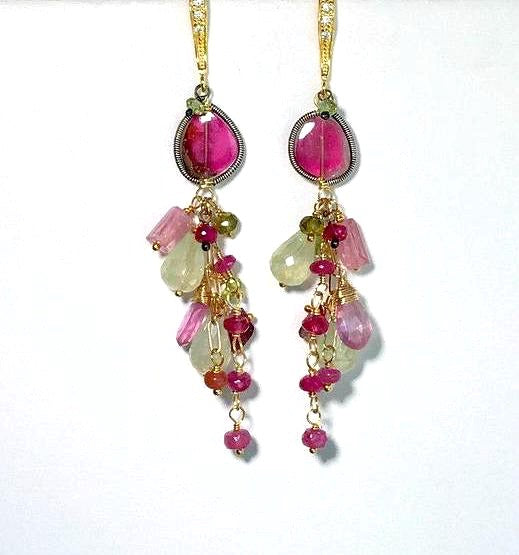 Multicolor Gemstone and Watermelon Tourmaline Slice Earrings