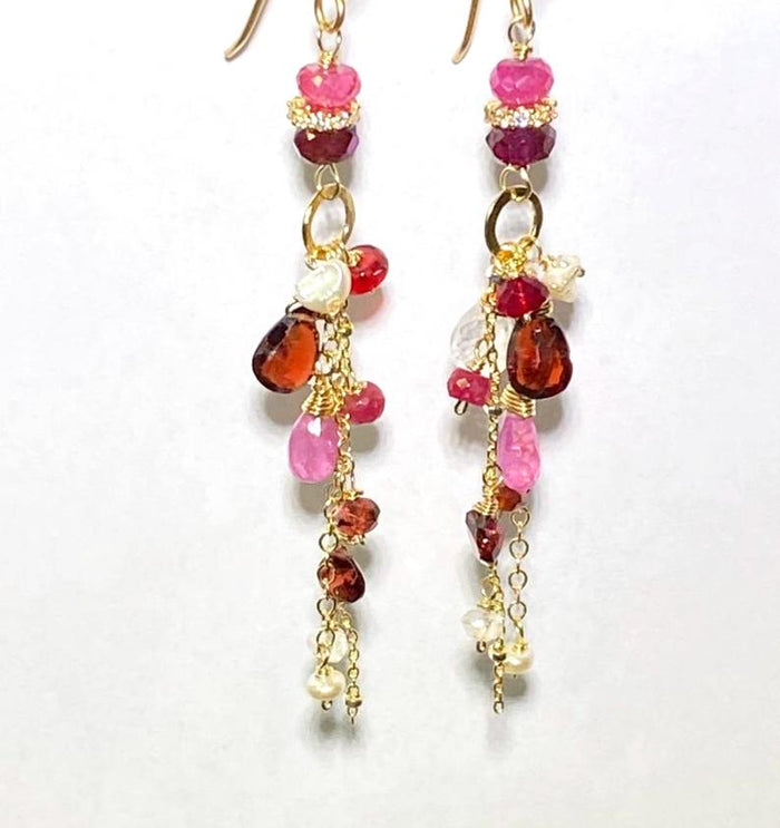 Red Pink Gemstone Long Boho Chain Dangle Earrings Garnet Pink Sapphire - doolittlejewelry