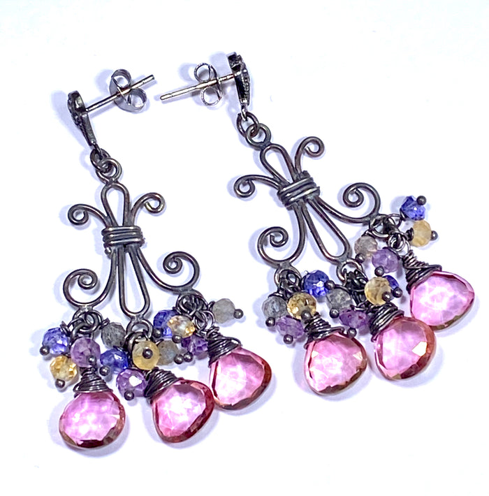 Mystic Pink Quartz Oxidized Silver Chandelier Earrings Labradorite Amethyst Citrine - doolittlejewelry