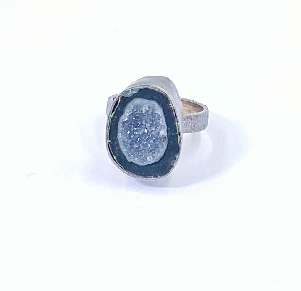 Black Tabasco Geode Pinky Ring Size 3 1/2 Oxidized Sterling Silver