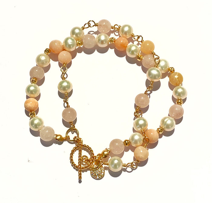 Pearl, Pink Opal, Rose Quartz Double Strand Bracelet Gold Fill