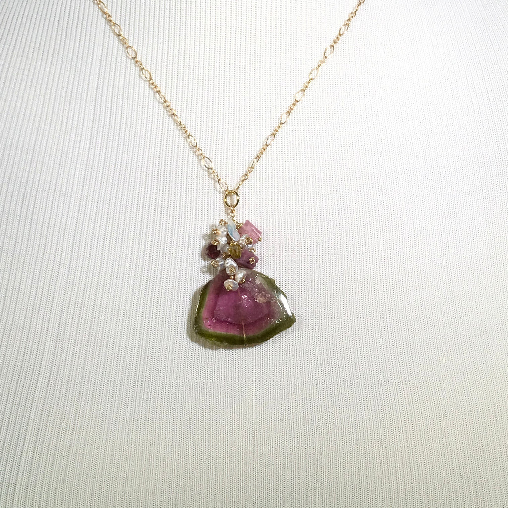 Large Watermelon Tourmaline Slice Pendant with Keishi Pearl Gemstone Cluster Gold - doolittlejewelry
