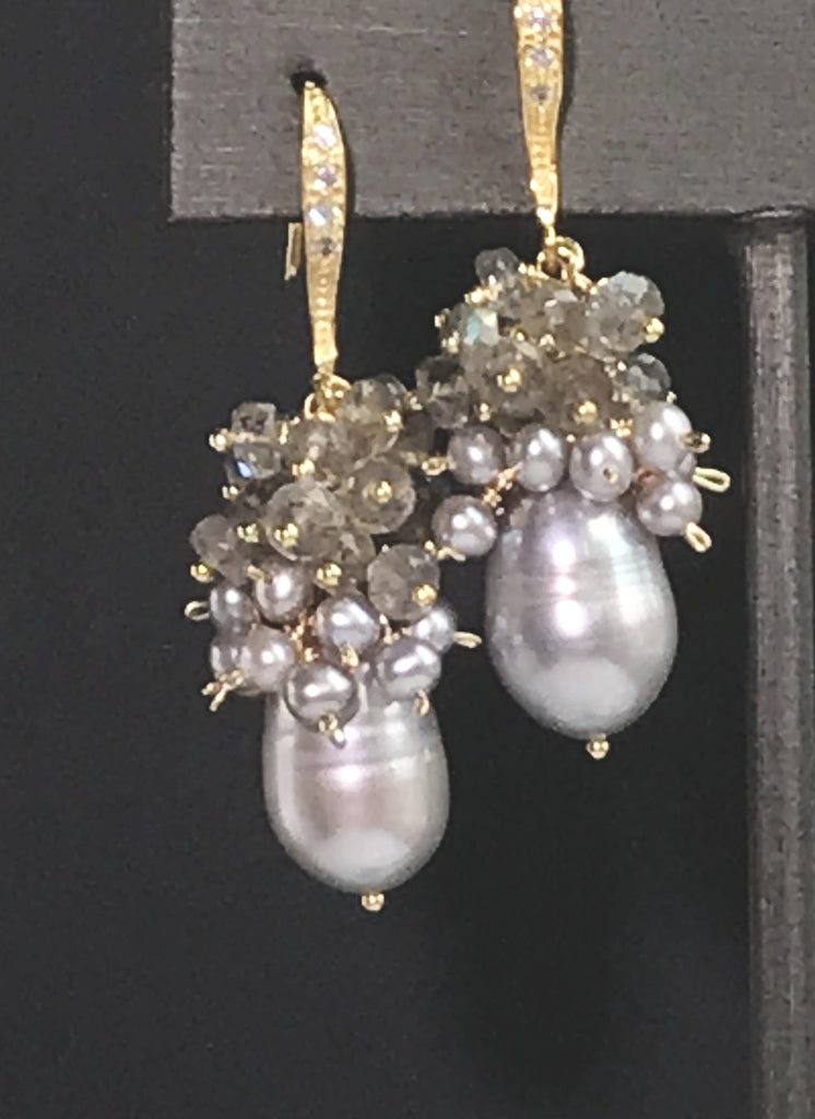 Labradorite Grey Pearl Cluster Earrings in Gold - doolittlejewelry