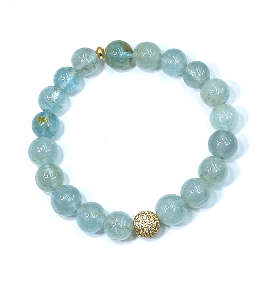 Blue Aquamarine Stacking Stretch Bracelet with Gold Pave CZ - doolittlejewelry