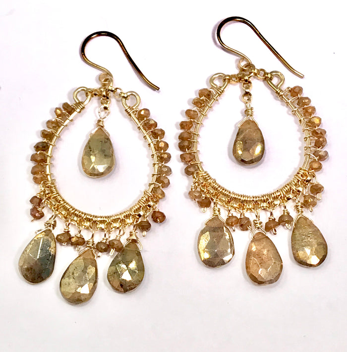 Gold Mystic Labradorite Hoop Chandelier Earrings - doolittlejewelry