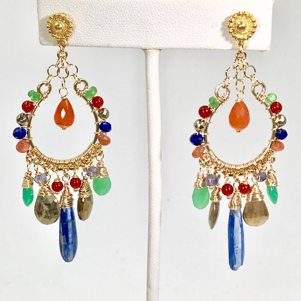 RESERVED CUSTOM LISTING for MJ - Colorful Chandelier Earrings Gold Fill - doolittlejewelry