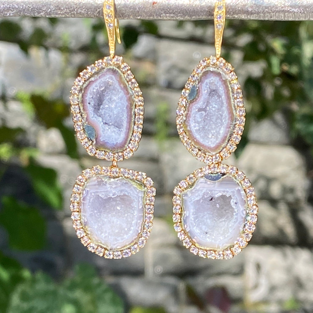 Silvery Grey Tabasco Geode Double Dangle Druzy Earrings