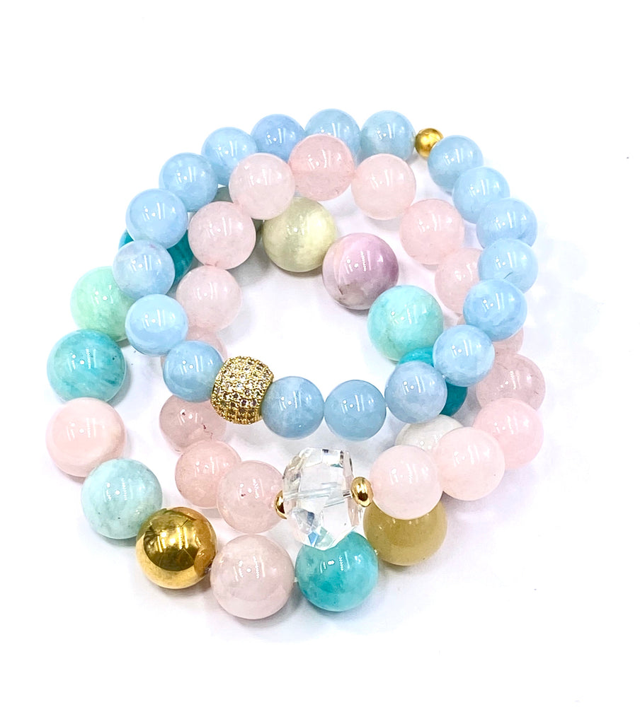 Pink Rose Quartz Stretch Stacking Bracelet Crystal Quartz Nugget